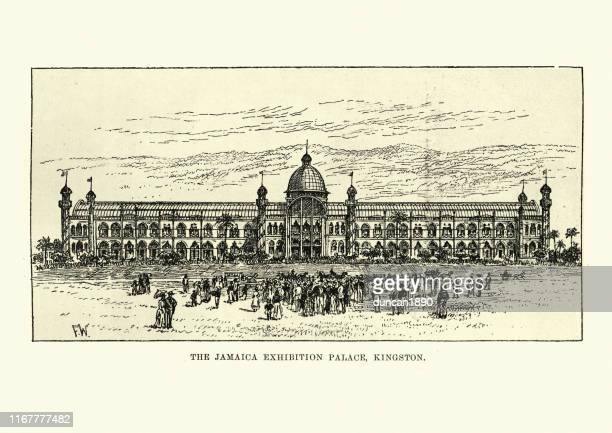 jamaica international exhibition palace, 19th century, 1891 - great exhibition stock illustrations, clip art, cartoons, & icons