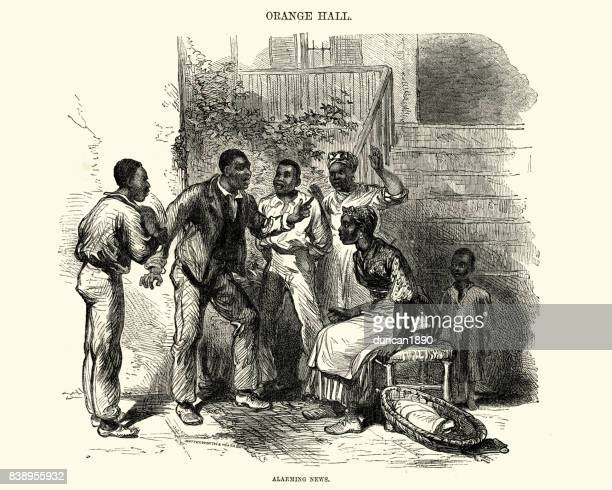 jamaican family outside their home, 19th century - jamaica stock illustrations, clip art, cartoons, & icons