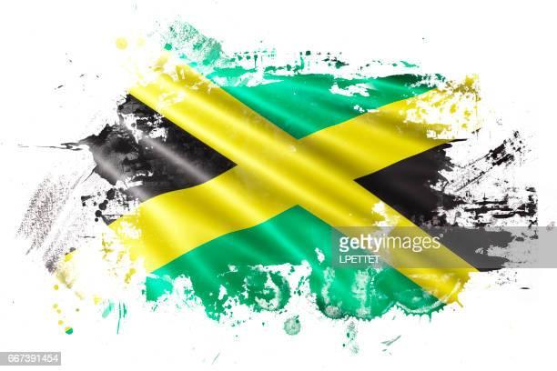 jamaican ink grunge flag - jamaican culture stock illustrations, clip art, cartoons, & icons