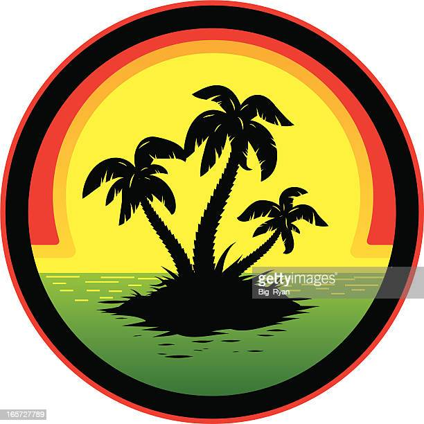 jamaican sunset - jamaica stock illustrations