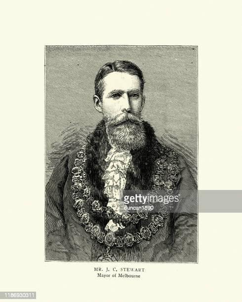 stockillustraties, clipart, cartoons en iconen met james cooper stewart, majoor van melbourne, 19e eeuw - burgemeester