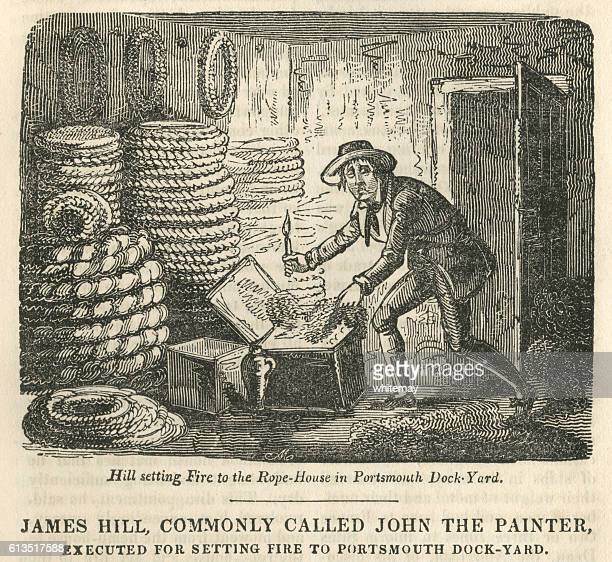 james hill, executed for setting fire to portsmouth dockyard - infamous stock illustrations, clip art, cartoons, & icons