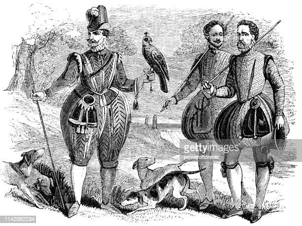 james iv and i, king of scotland and england falconry hunting in the late 16th century - falconry stock illustrations