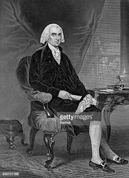 james madison 4th us president - president stock illustrations