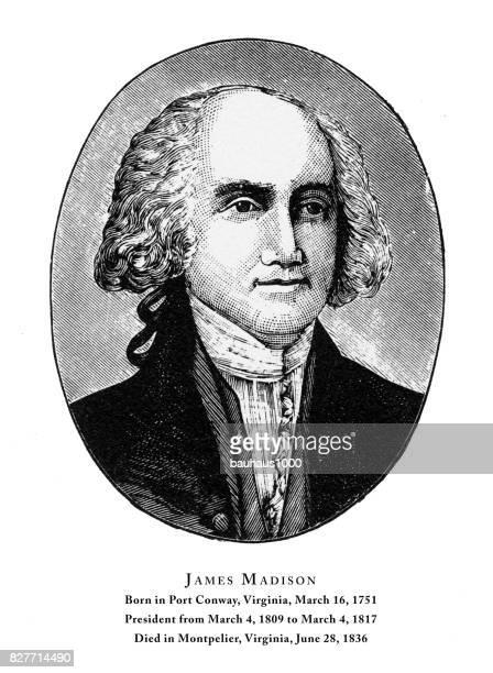 james madison, engraved portrait of president, 1888 - james madison stock illustrations, clip art, cartoons, & icons