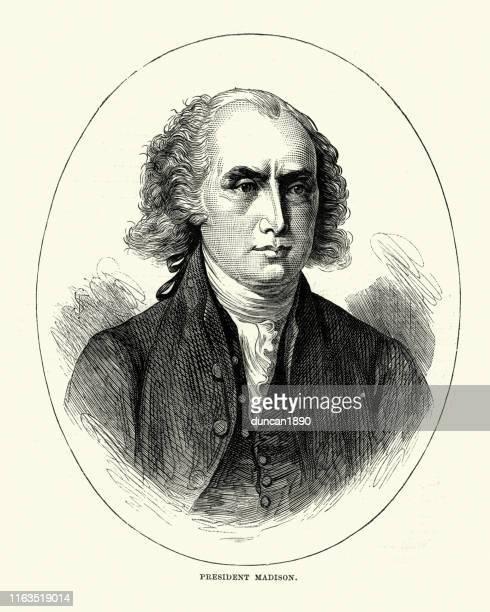 james madison fourth president of the united states - james madison stock illustrations, clip art, cartoons, & icons