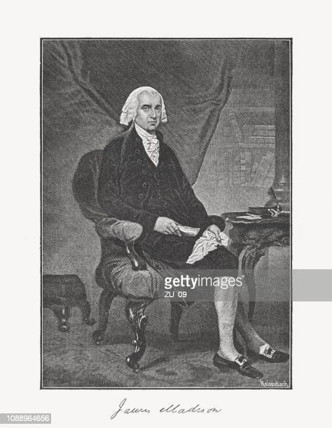 james madison jr. (1751-1836), 4th u.s. president, woodcut, published 1886 - bill of rights stock illustrations