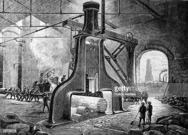James Naysmith's invention, the steam hammer, in operation at an iron foundry. Original Artwork: From a painting by Naysmith himself.
