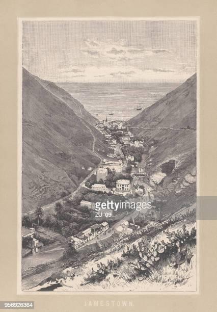 ilustraciones, imágenes clip art, dibujos animados e iconos de stock de jamestown, santa helena, territorio británico de ultramar, grabado en madera, publicado 1893 - valle