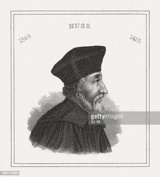 jan hus (c.1369-1415), czech priest, steel engraving, published in 1843 - circa 14th century stock illustrations, clip art, cartoons, & icons