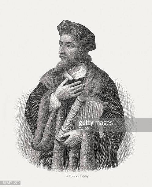 jan hus (c.1369-1415), czech priest, steel engraving, published in 1868 - circa 15th century stock illustrations, clip art, cartoons, & icons