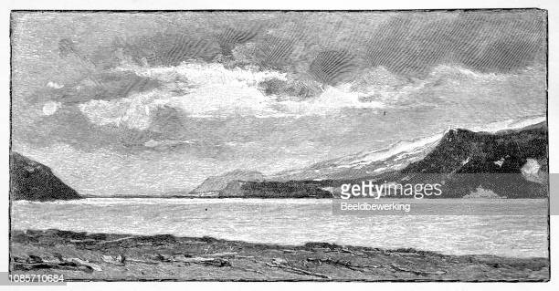 jan mayen island illustration 1895 'the earth and her people' - driftwood stock illustrations
