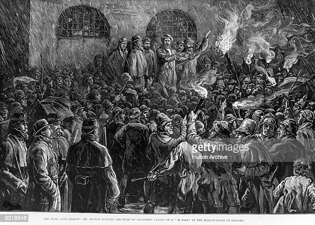 Illustrated London News The Irish Land League Mr Boyton Burning the Duke Of Leinster's Leases On A '98' Pike In The Markey Place of Kildare pub 1881