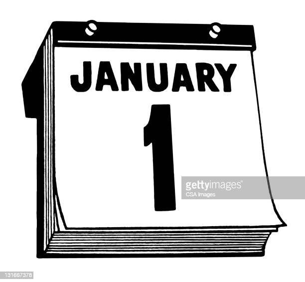 january 1st calendar - day stock illustrations, clip art, cartoons, & icons
