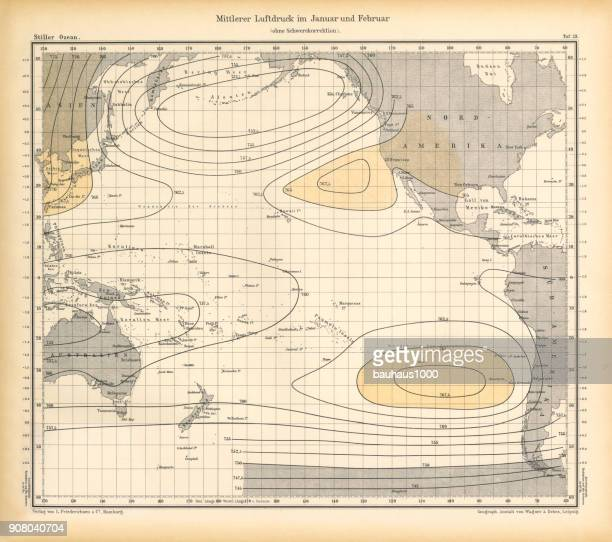 January and February Air Pressure Chart, Pacific Ocean, German Antique Victorian Engraving, 1896
