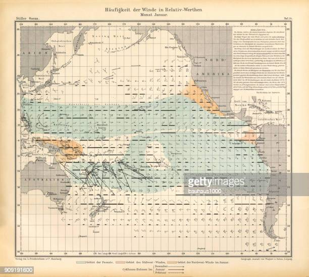 January Frequency of Winds in Relative Values Chart, Pacific Ocean, German Antique Victorian Engraving, 1896