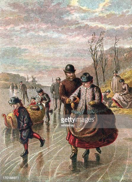 stockillustraties, clipart, cartoons en iconen met january - people skating on a frozen river - schaats ijs