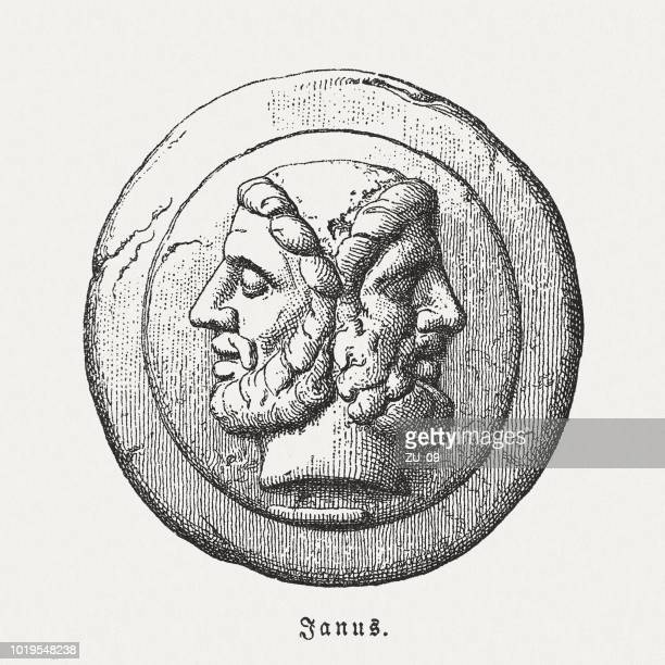 janus, roman god of beginnings and endings, woodcut, published 1897 - relief carving stock illustrations