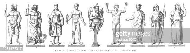janus, saturnus, opis, jupiter, hera, diana, religious rites and figures of ancient greece and rome engraving antique illustration, published 1851 - roman god stock illustrations