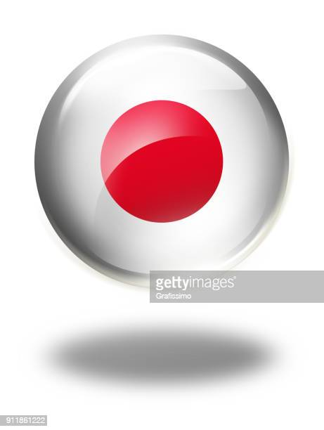 japan button with japanese flag isolated on white - japanese flag stock illustrations, clip art, cartoons, & icons