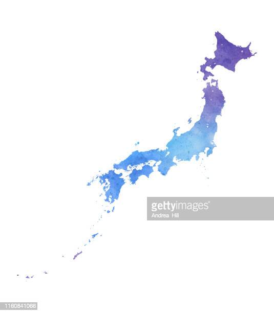 japan raster map watercolor illustration in blue and purple - hokkaido stock illustrations, clip art, cartoons, & icons