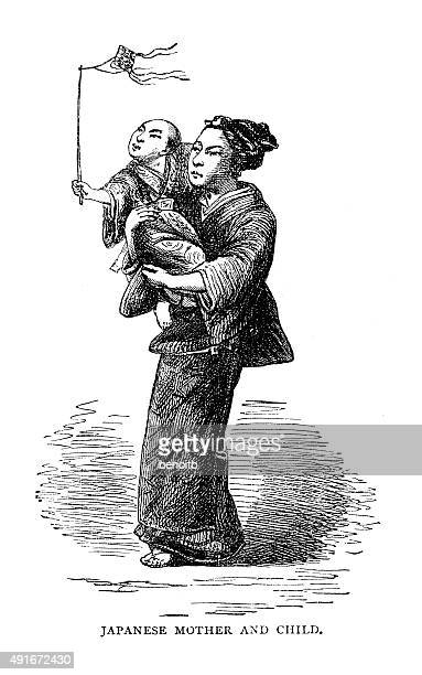japanes mother and child - only japanese stock illustrations, clip art, cartoons, & icons