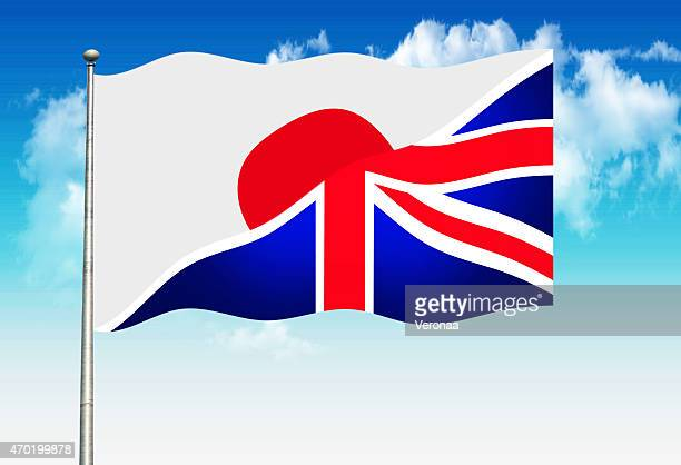 japanese and british flag - diplomacy stock illustrations