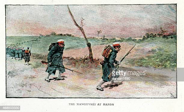 japanese army manoeuvres at handa, 1891 - only japanese stock illustrations, clip art, cartoons, & icons