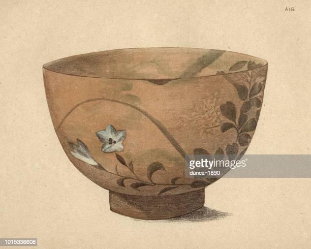 japanese art, bowl of pottery of kioto, 19th century - pottery stock illustrations, clip art, cartoons, & icons