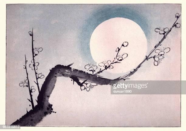 illustrations, cliparts, dessins animés et icônes de art japonais, branche de prunier en fleur - estampe japonaise
