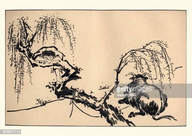 illustrations, cliparts, dessins animés et icônes de art japonais, enfant et vache, - estampe japonaise