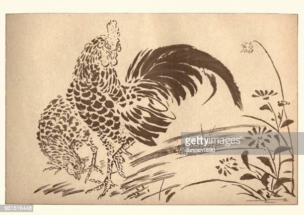 Japanese art, Cock and Hen