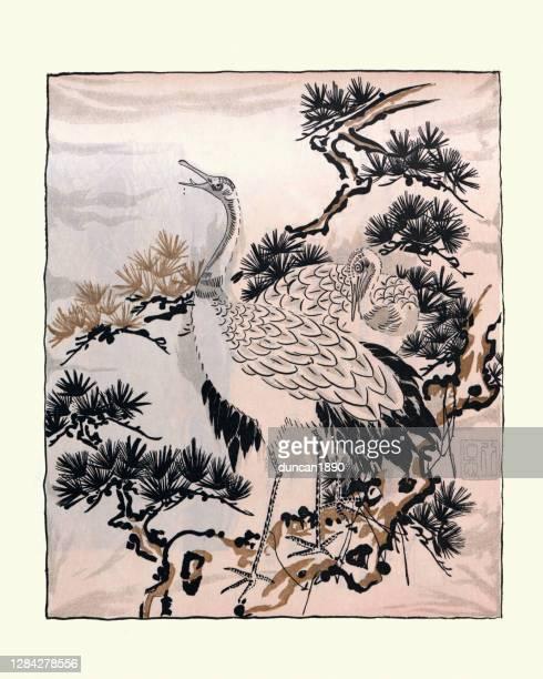 japanese art, drawing of cranes, birds, fukusa - artistic product stock illustrations