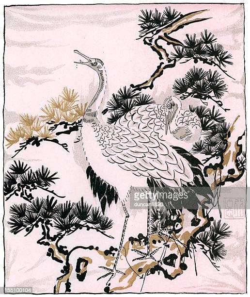 japanese art - picture of a crane - japanese crane stock illustrations