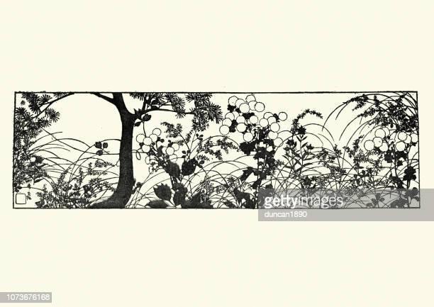 illustrations, cliparts, dessins animés et icônes de art japonais, esquisse de la nature, les arbres et les fleurs - estampe japonaise