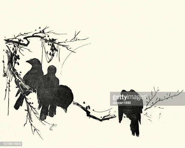 Japanese Art, Sketch of crows sitting on a branch