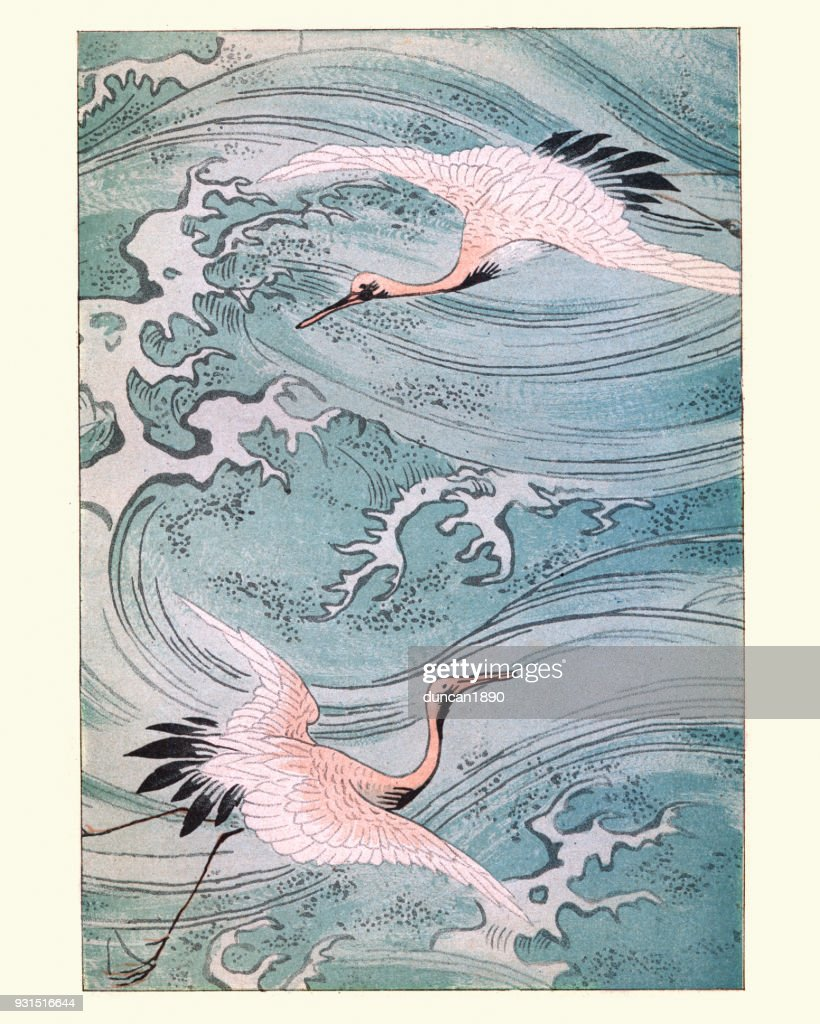Japanese art, Storks Flying over water : stock illustration