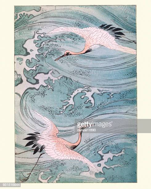 japanese art, storks flying over water - woodcut stock illustrations