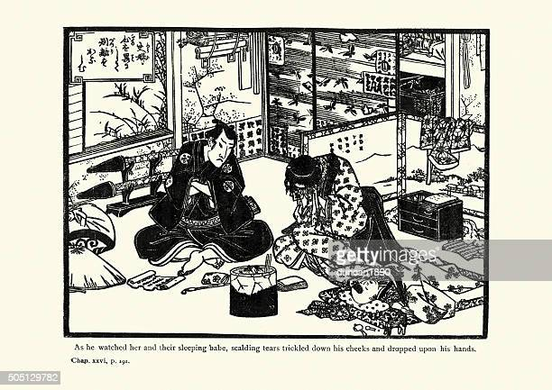 japanese art - the forty seven ronin - only japanese stock illustrations, clip art, cartoons, & icons