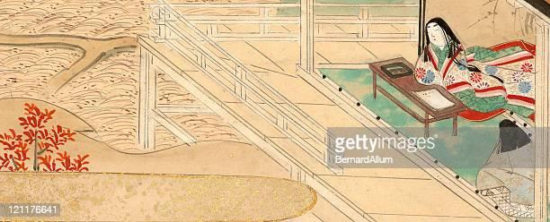 ilustrações, clipart, desenhos animados e ícones de japonesa do concubine, localizado e servidor - mt. fuji