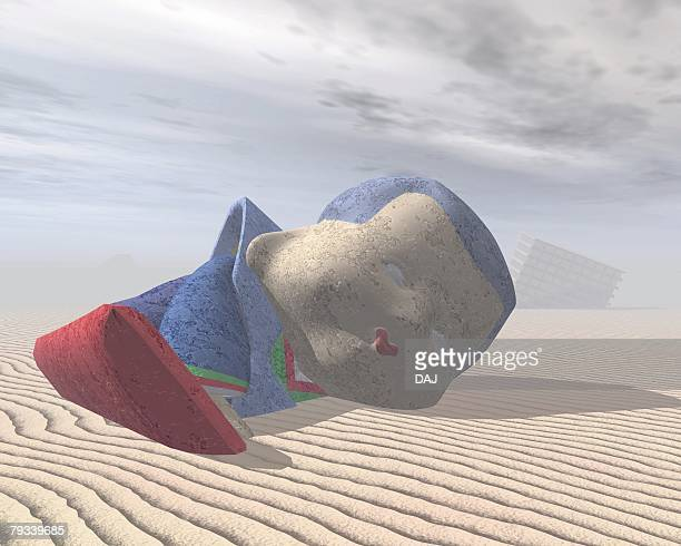 japanese doll buried in sand, cg, 3d, illustration - buried stock illustrations, clip art, cartoons, & icons