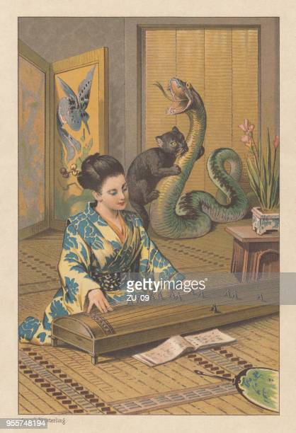"""Japanese fairy tale """"Koma and Gon"""", lithograph, published in 1889"""