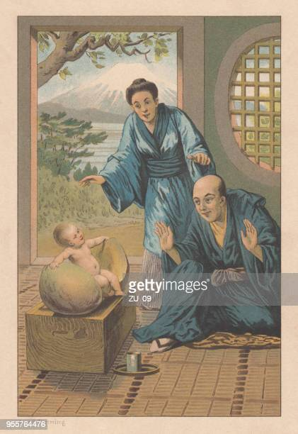"japanese fairy tale ""momotaro"", lithograph, published in 1889 - shikoku stock illustrations, clip art, cartoons, & icons"