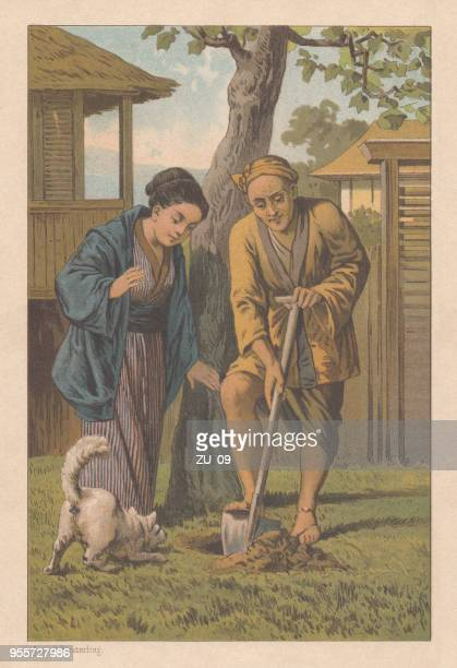 """japanese fairy tale """"the good and the bad neighbor"""" (lithograph-1889) - infamous stock illustrations, clip art, cartoons, & icons"""