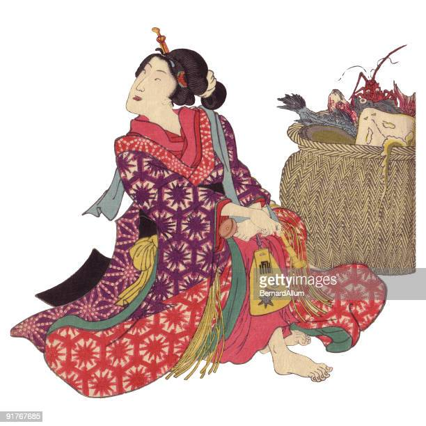 japanese fisherwoman - only japanese stock illustrations, clip art, cartoons, & icons