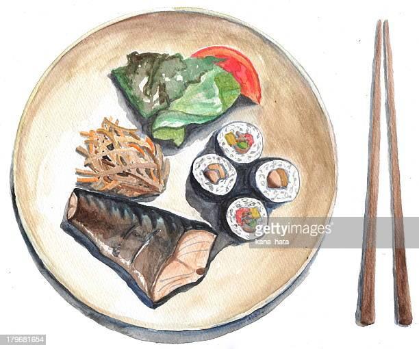 japanese food - chopsticks stock illustrations, clip art, cartoons, & icons