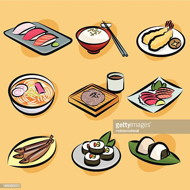 japanese foods - soba stock illustrations