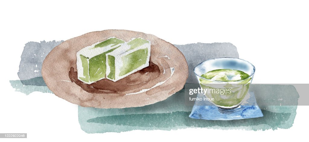Japanese green tea and sweets : stock illustration