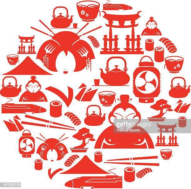 ilustrações, clipart, desenhos animados e ícones de ícone do japanese montagem - mt. fuji
