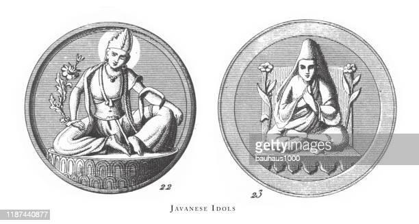 illustrazioni stock, clip art, cartoni animati e icone di tendenza di idoli giapponesi, scene religiose, simboli e figure di cina, giappone e indonesia che incidivano illustrazioni antiche, pubblicato nel 1851 - indonesia